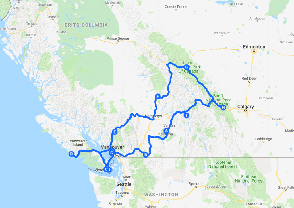 Route camperreis West-Canada 2018