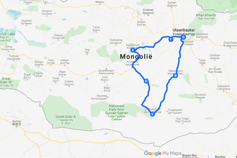 Route rondreis Mongolië